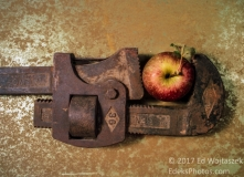 Pipe Wrench Holding an Apple