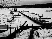 Frozen Docks on Lake Sunapee